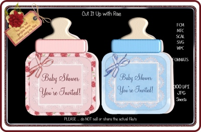 004 Set of Shaped Baby Bottle Cards HAND and MACHINE Formats