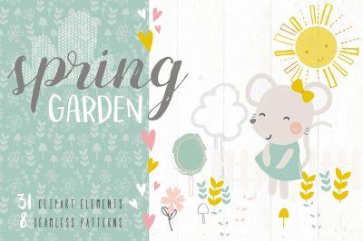 Spring Garden Clipart & Seamless Pattern Pack