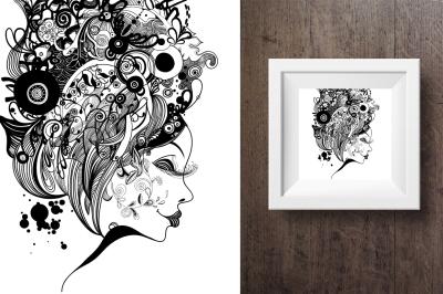 6 Woman zentangle inspired portrait.
