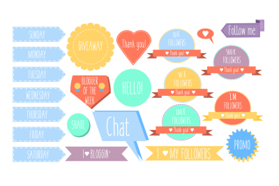 Isolated decorative design elements, stickers, banners and labels for social media  blogs