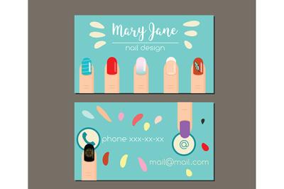 Business card design template.  Flyer for manicure salon, nail  studio,  artist
