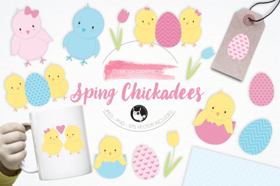 Spring Chickadees graphics and illustrations