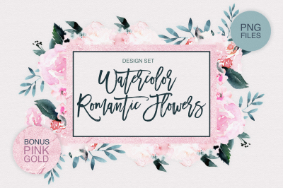 Watercolor Romantic Flowers