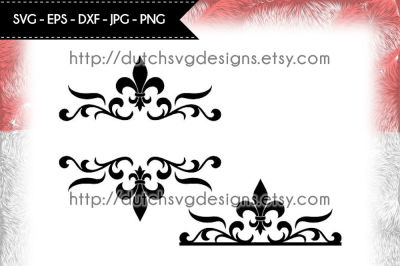 2 Split monogram cutting files with french lily, in Jpg Png SVG EPS DXF, Cricut svg, Silhouette cut file, fleur de lis svg, diy