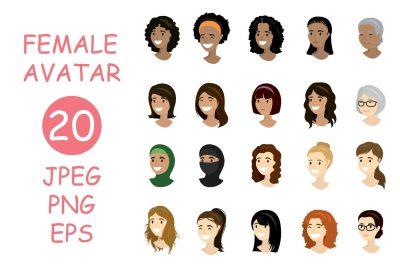 Cartoon set - 20 female avatars