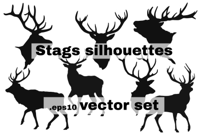 Stags vector silhouettes
