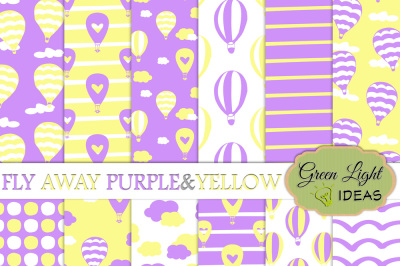 Hot Air Balloons Digital Papers, Purple and Yellow Backgrounds
