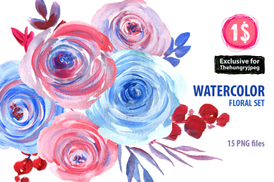Watercolor red and blue roses, branches, leaves 15 png