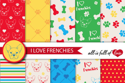 I Love Frenchies Digital Paper French bulldog background red yellow blue yellow patterns to print Pet digital scrapbooking