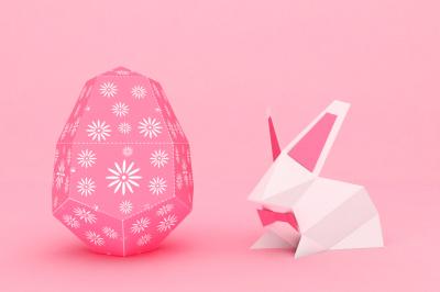 DIY Easter egg & bunny - 3d papercrafts