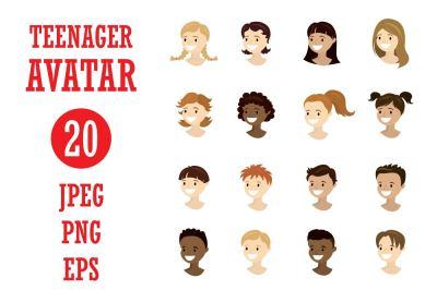 Cartoon set - 20 teenager avatars