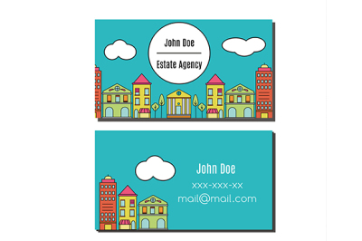 Business card design template Flyer with city street buildings view. Elegant card for estate agency, architecture office