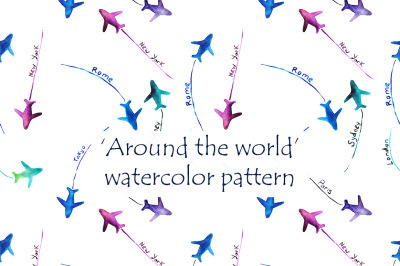 'Around the world' hand-drawn watercolor pattern