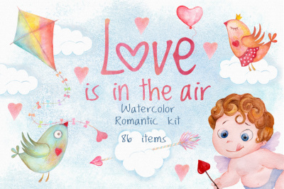 Romantic watercolor set. Love is in the air