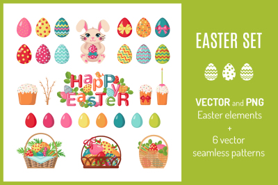 Set of Easter icons and patterns