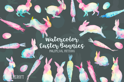 Watercolor Easter Bunnies