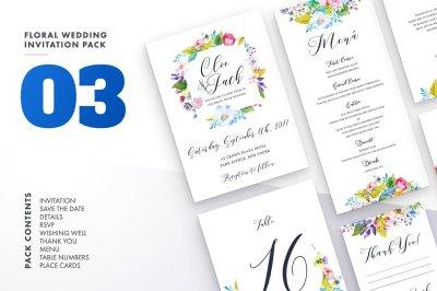 Floral Wedding Invitation Set 3