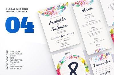 Floral Wedding Invitation Set 4