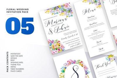 Floral Wedding Invitation Set 5