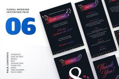 Floral Wedding Invitation Set 6