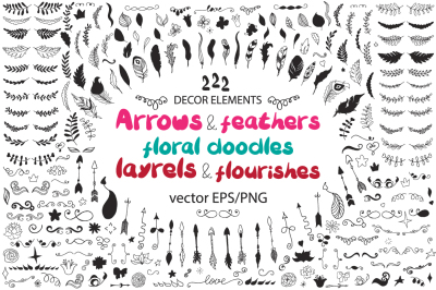 222 Big doodle icons and design elements ClipArt, Arrows, feathers, floral doodles, layrels and flourishes