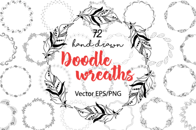 72 hand drawn doodle wreaths, design elements ClipArt, floral and feathers wreaths.
