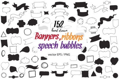 80 Big doodle ClipArt with Banners, Ribbons, Frames, speech bubblesand design elements