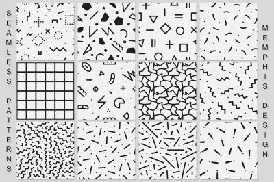Memphis seamless patterns. B&W