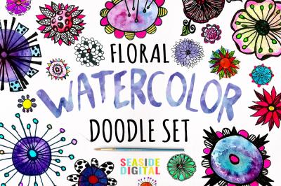 Watercolor Floral Doodles