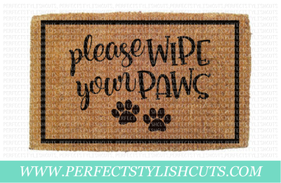 Please Wipe Your Paws , Doormat Design - SVG, EPS, DXF, PNG Files For Cutting Machines