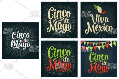 Cinco de Mayo, Viva Mexico lettering