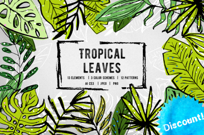 Set of hand drawn tropical leaves in 3 color schemes