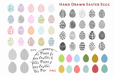 24 Hand Drawn Easter Eggs