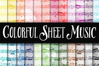 Colorful Sheet Music Digital Paper Textures