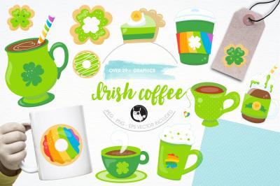 Irish coffee graphics and illustration