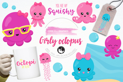 Girly octopus illustrations and graphics