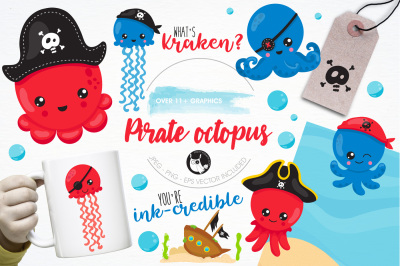 Octopus pirate illustrations and graphics
