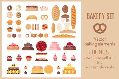 Set of Flat Bakery Icons