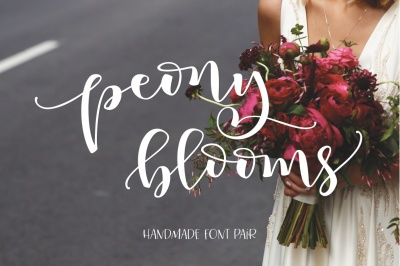 Peony Blooms Hand lettered Font Pair