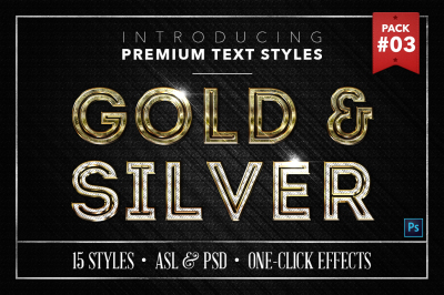 Gold & Silver #3 - 15 Text Styles