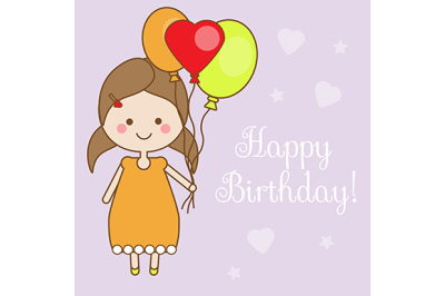 Cute smiling little girl holding balloons. Shappy Birthday greeting card design template. Vector illustration