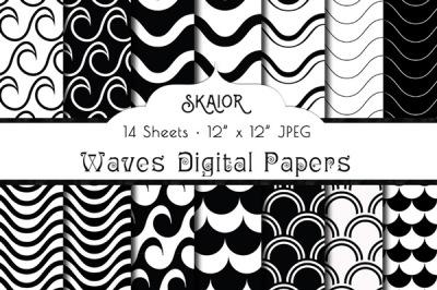 Black Waves Digital Papers