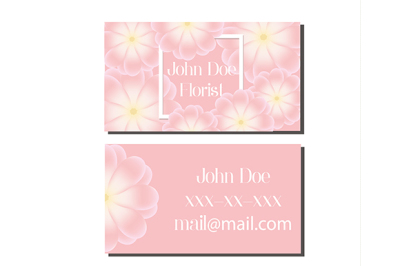 Business card design template. Vector flyer for florist, wedding events management, flower shops and other