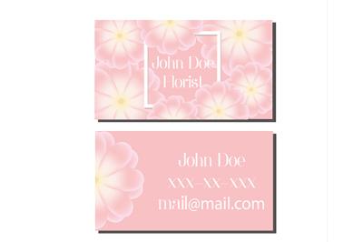 Business card design template. Vector flyer for florist, wedding events management, flower shops and other