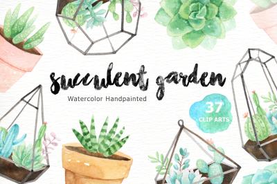 Succulent Garden Watercolor Cliparts