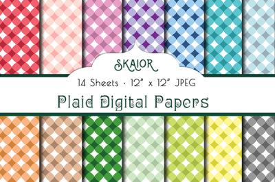 Rainbow Plaid Digital Papers