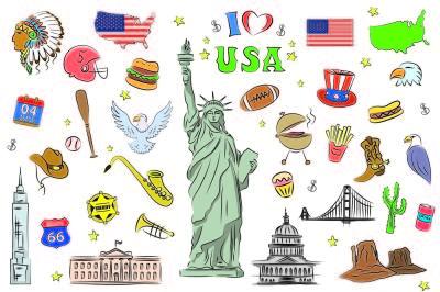 USA symbols and icons set