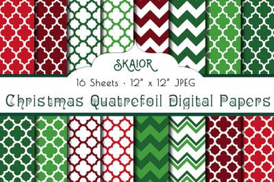 Christmas Quatrefoil Digital Papers