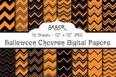 Halloween Chevron Orange Black Digital Papers