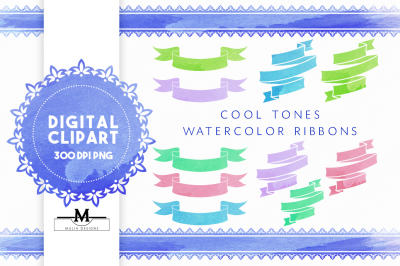 Cool Watercolor Ribbons Clipart